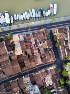 HoiAn from above. Flying a drone around cities and towns is not for the unskilled amature. Interference from concrete, metal and wifi signals can cause the drone to lose connection and crash. However, the risks can be very rewarding.